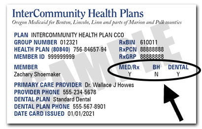 Example of an InterCommunity Health Plans ID Card